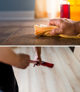 Cleaning floors with a rag/with a mop